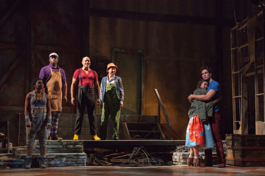 (L-R): Alyse Rockett, Regi Davis, Philip Anthony-Rodriguez, Gedde Watanabe, Ashley Park and Conor Guzmán in The Fantasticks at The Pasadena Playhouse. Photo Credit: Jim Cox Photography.